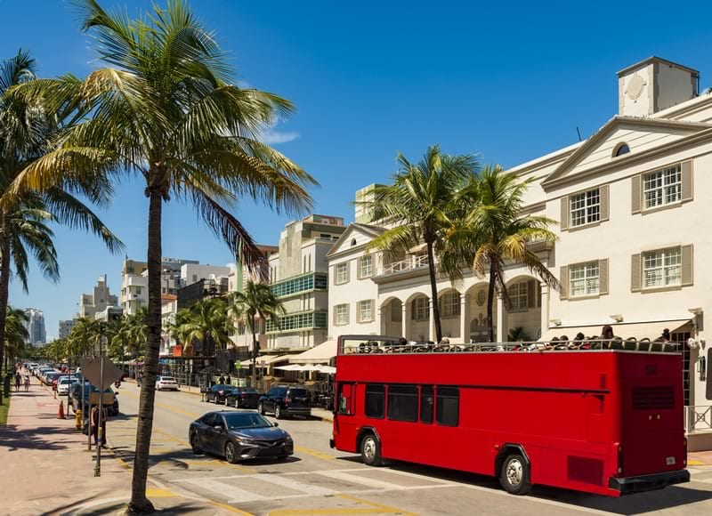 Red Bus in Miami Beach